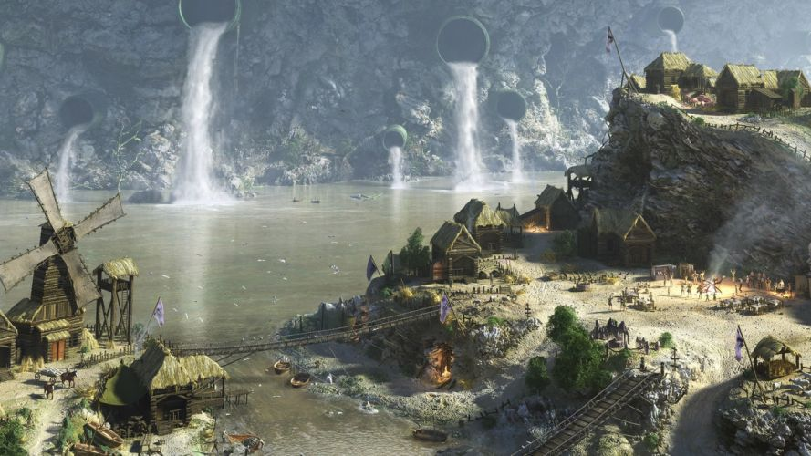 water drawings villages wallpaper