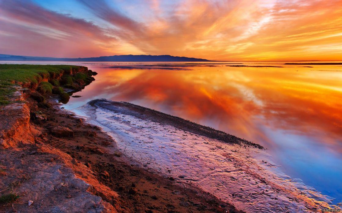 sunset clouds nature wallpaper
