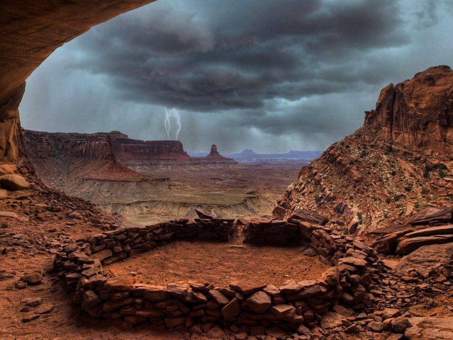 landscapes rocks Utah overcast lightning National Park rock formations wallpaper