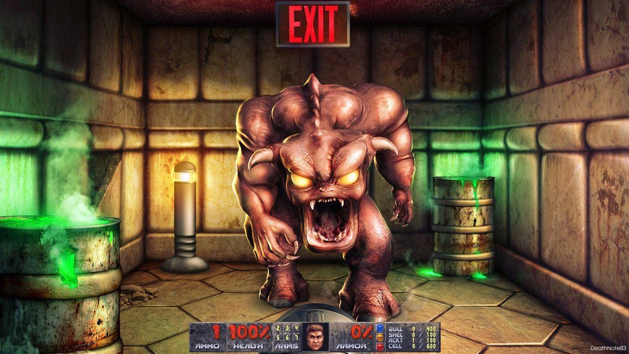 Doom fantasy art retro games game FPP wallpaper