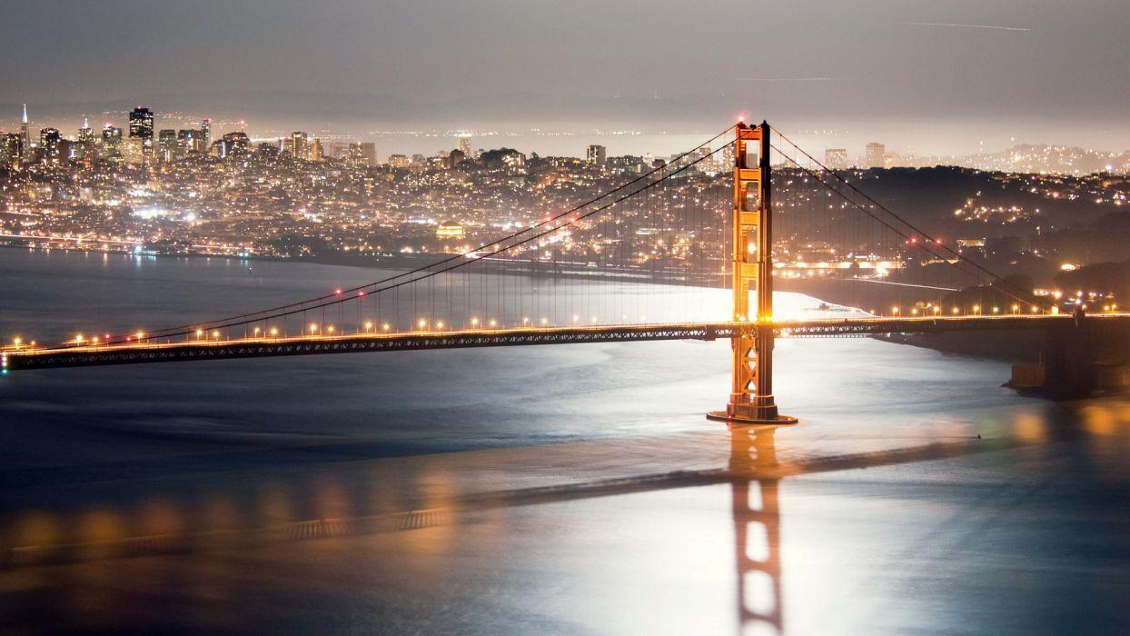 architecture Golden Gate Bridge San Francisco city skyline cities night city city night wallpaper