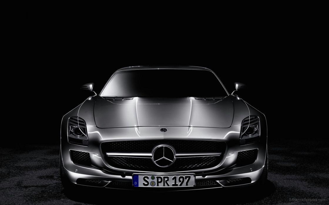 dark cars SLS AMG Mercedes Benz muscle car wallpaper