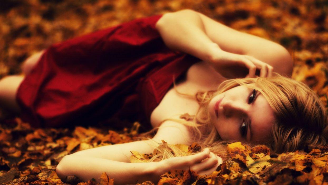 women dress leaves lying down fallen leaves wallpaper
