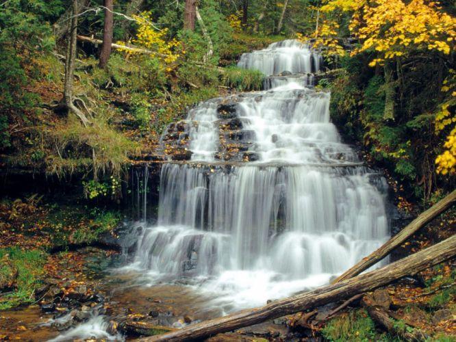 nature falls Michigan waterfalls wallpaper
