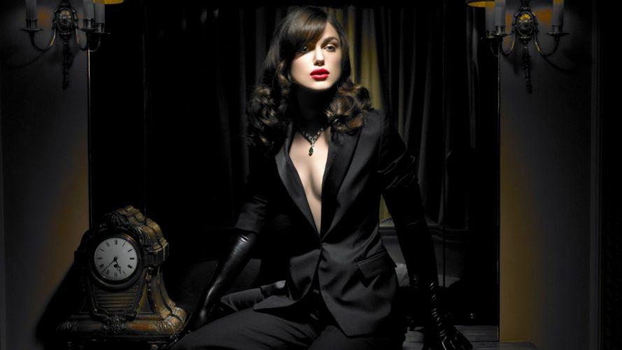 brunettes women gloves cleavage Keira Knightley celebrity wallpaper