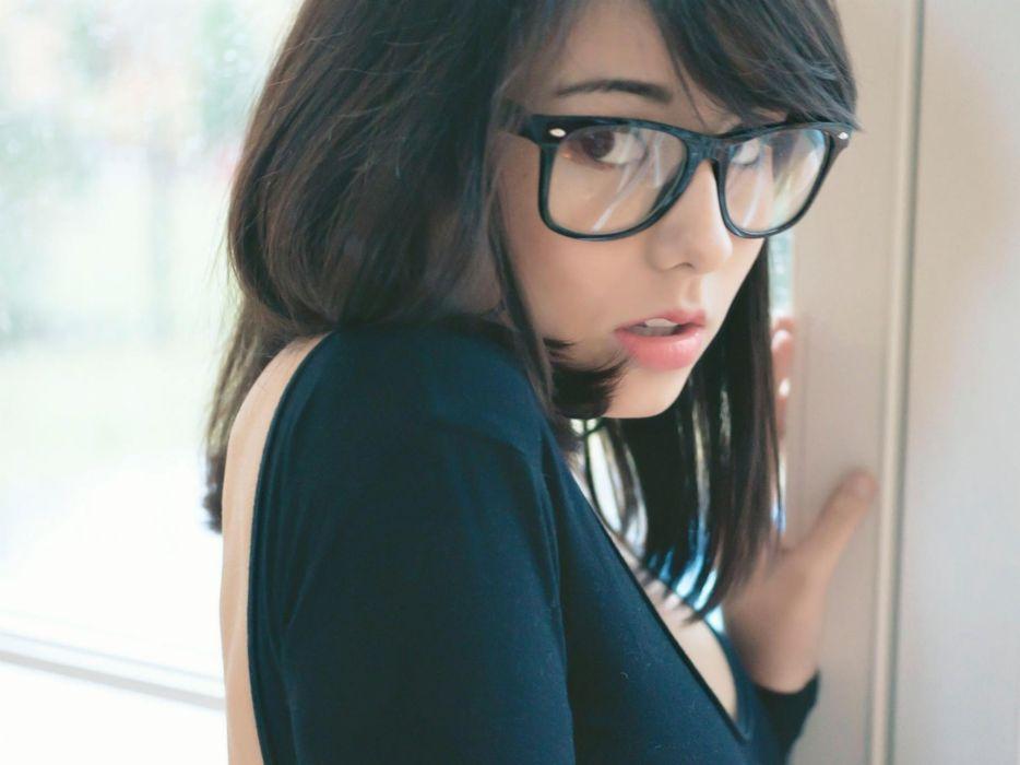 brunettes women stare models Asians Laura Baduria girls with glasses wallpaper