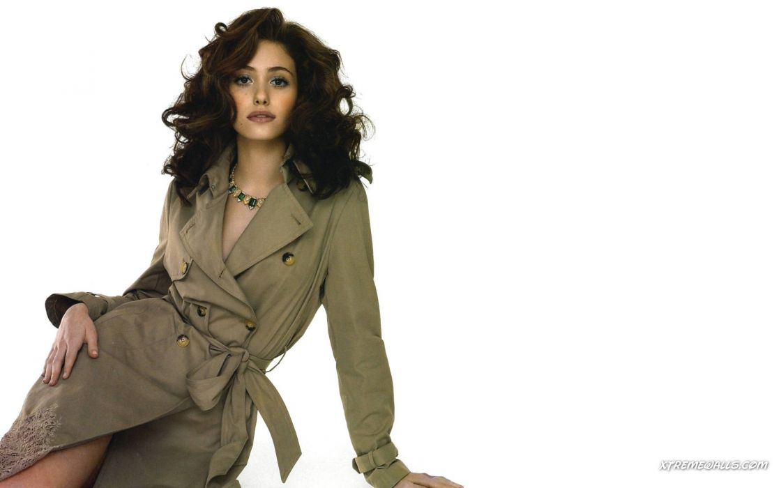 brunettes women actress long hair celebrity Emmy Rossum coat white background hands on hips wallpaper