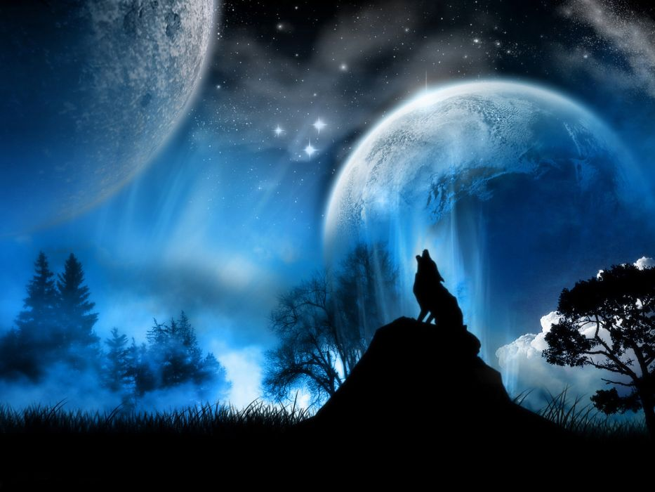 Blue Animals Moon Illustrations Howling Wolf Wolves Wallpaper