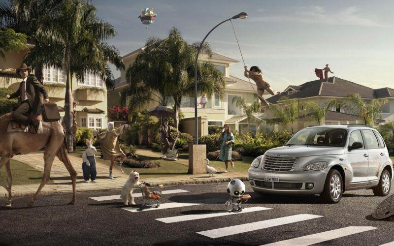 3D view camels Tarzan Chrysler PT Cruiser wallpaper