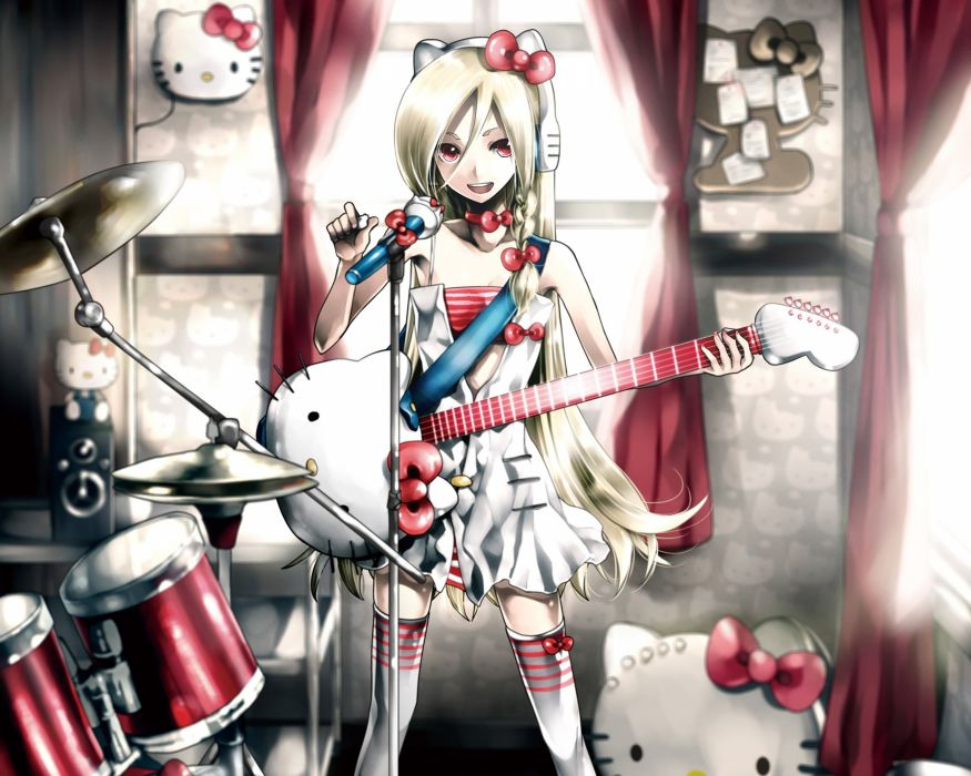 headphones blondes dress indoors room long hair nekomimi Hello Kitty animal ears red eyes thigh highs instruments guitars drums bows drum set open mouth curtains choker white dress anime girls microphones Kei (Artist) hair ornaments striped clothing open  wallpaper