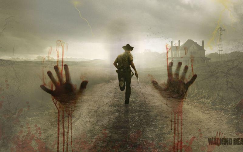 THE WALKING DEAD horror drama dark zombie blood g wallpaper