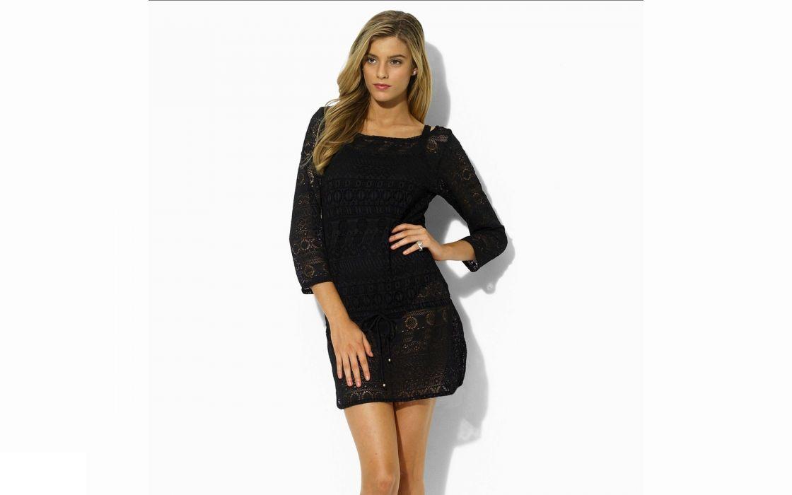 blondes women dress models celebrity black dress Josefina Cisternas Chilean white background wallpaper