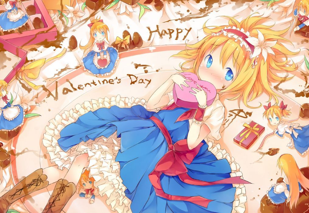 blondes Touhou blue eyes chocolate ribbons valentine Valentines Day Alice Margatroid hair band hair ornaments wallpaper