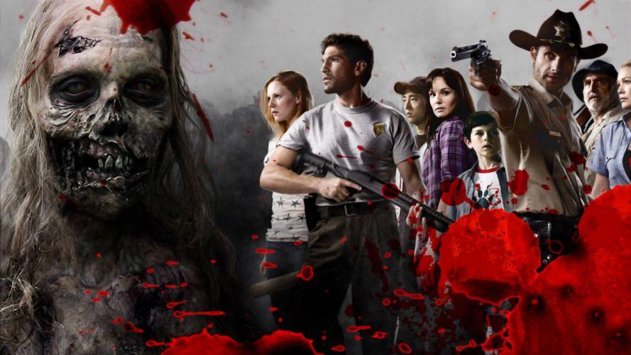 THE WALKING DEAD horror drama dark zombie blood y wallpaper