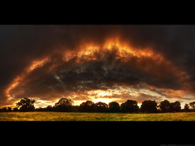 clouds landscapes fire countryside wallpaper