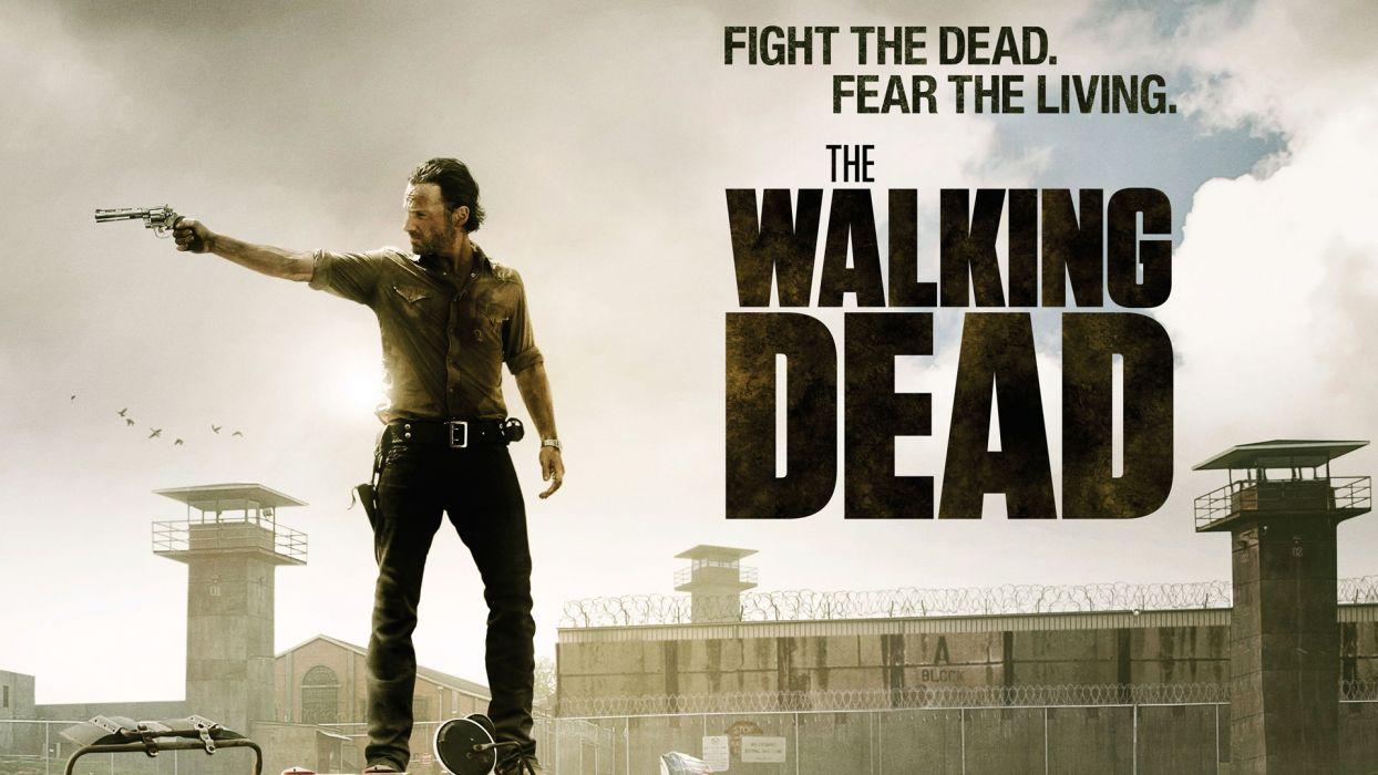 THE WALKING DEAD horror drama dark zombie poster weapon gun pistol      f wallpaper