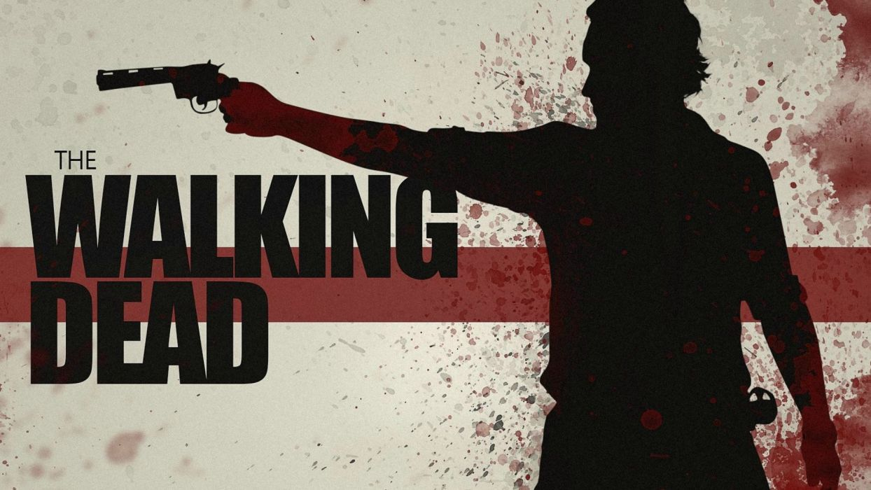 THE WALKING DEAD horror drama dark zombie poster weapon gun pistol blood   g wallpaper