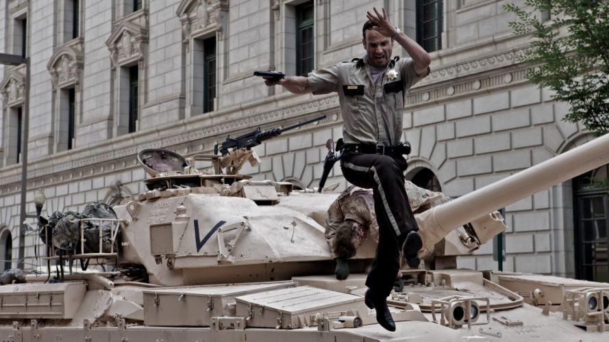 THE WALKING DEAD horror drama dark zombie tank police f wallpaper