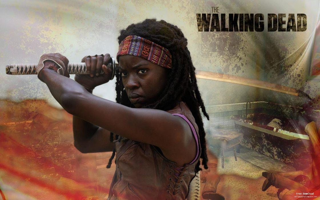 THE WALKING DEAD horror drama dark zombie warrior sword katana poster     gd wallpaper