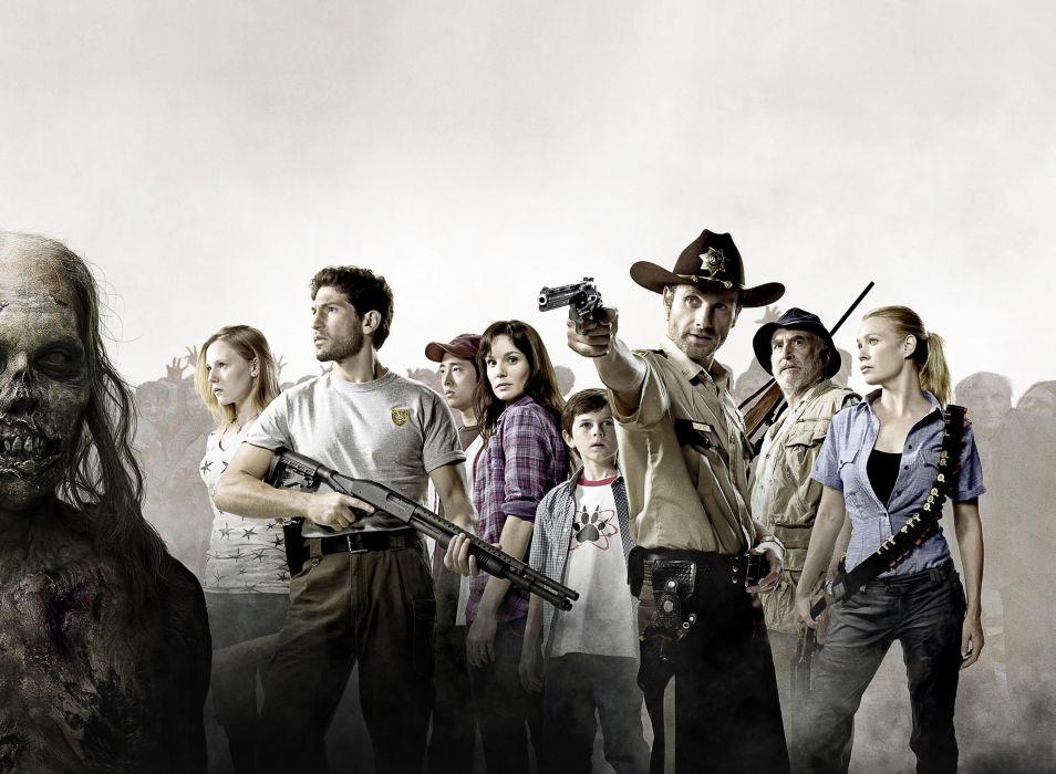 THE WALKING DEAD horror drama dark zombie weapon gun pistol police      f wallpaper