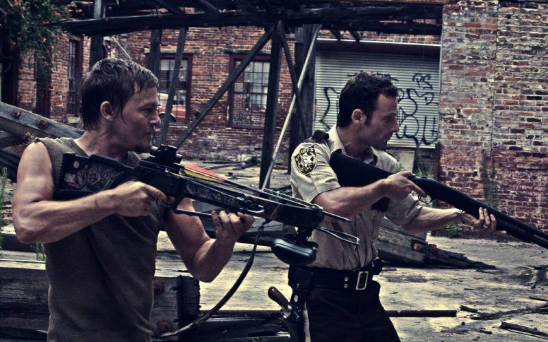 THE WALKING DEAD horror drama dark zombie weapon gun pistol police g3 wallpaper