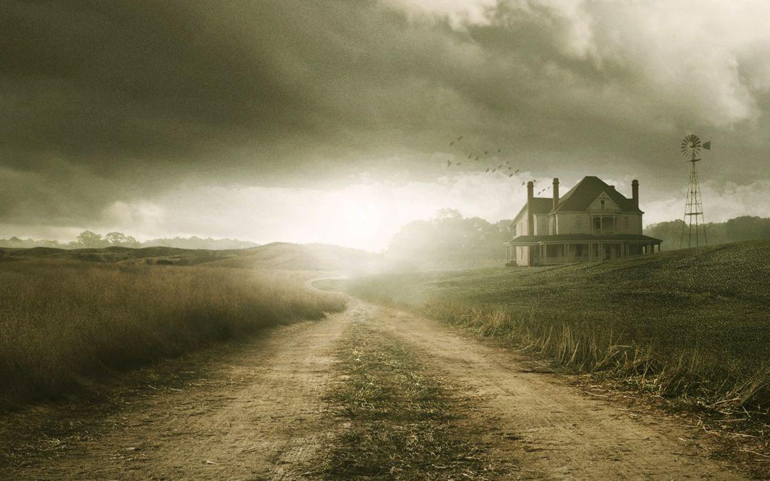 THE WALKING DEAD horror drama landscape house farm road mood sky   f wallpaper