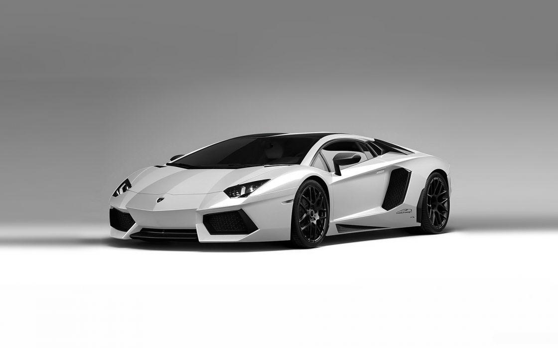 white cars vehicles Lamborghini Aventador wallpaper