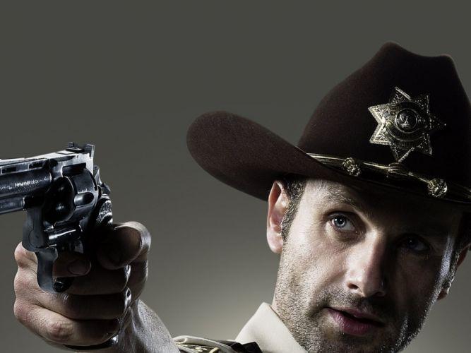 THE WALKING DEAD horror drama weapon gun pistol police f wallpaper