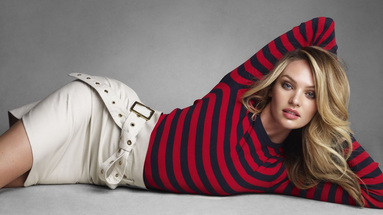 blondes women Candice Swanepoel South African laying on side models sweaters wallpaper