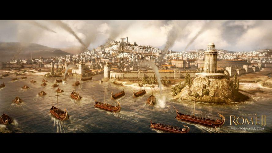 TOTAL WAR ROME action fantasy city boat ship poster g wallpaper