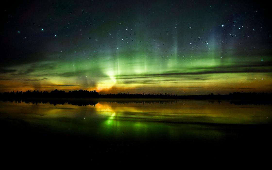 water landscapes night aurora borealis wallpaper