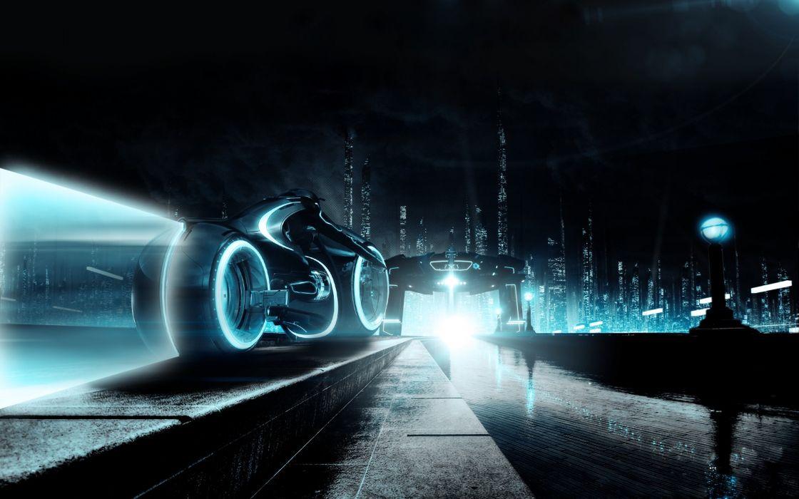 Tron science fiction cities wallpaper