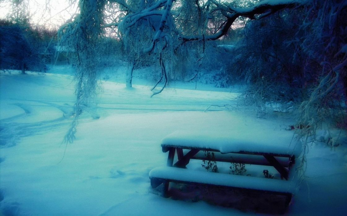 nature winter snow frozen bench rivers wallpaper