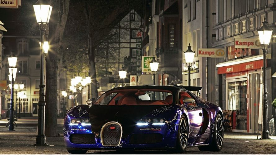 Bugatti Veyron front city night wallpaper