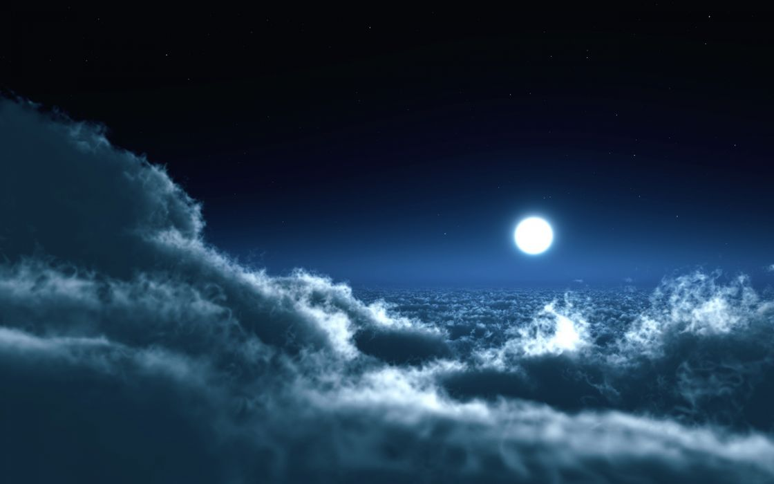 clouds landscapes Moon skyscapes wallpaper