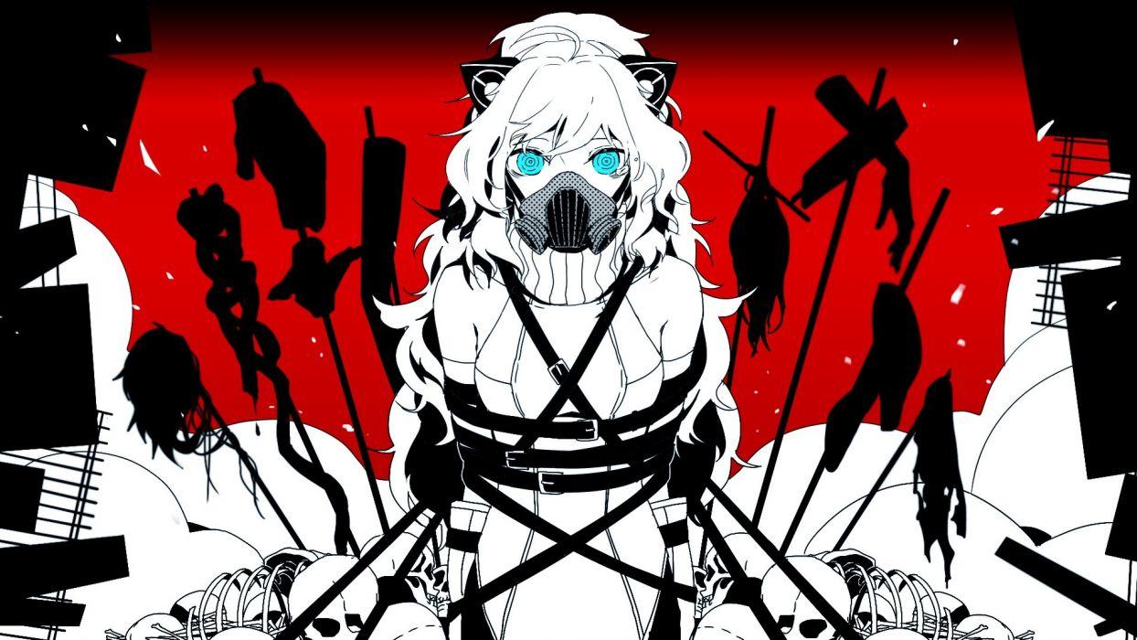 skulls Vocaloid blue eyes long hair nekomimi gas masks animal ears skeletons cat ears selective coloring aqua eyes bound SeeU wallpaper