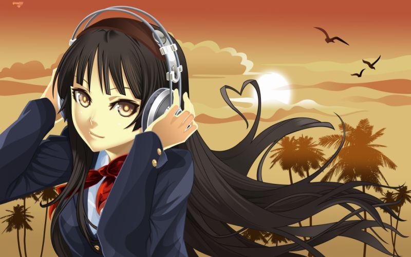headphones K-ON! Akiyama Mio anime girls wallpaper