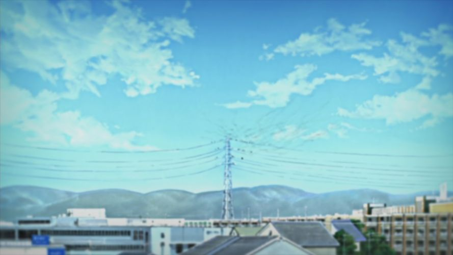 clouds buildings illustrations anime Nichijou skyscapes wallpaper