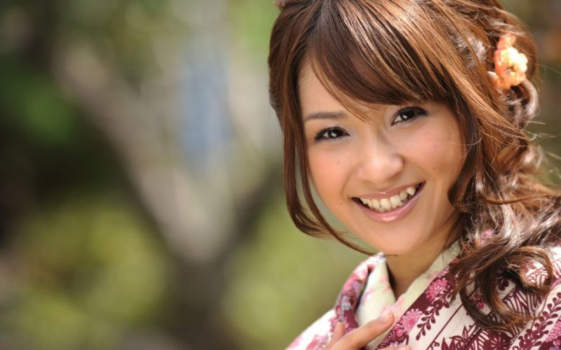 women Asians Japanese clothes bangs wallpaper