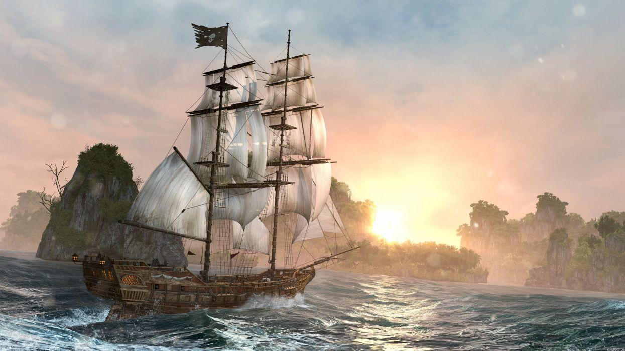 Assigncard IV video game ship river hd sunrise ultrahd 4k wallpaper wallpaper