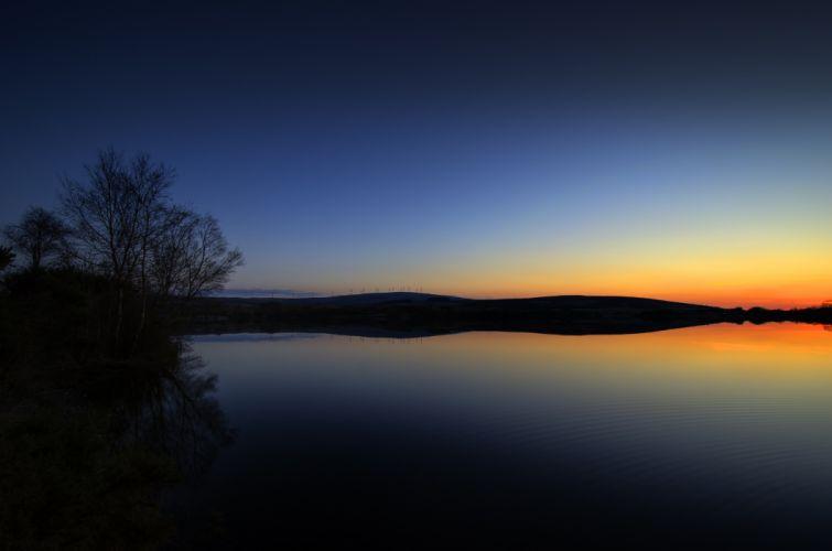 nature lake landscape reflection fog lake sunrise blue tree ultrahd 4k wallpaper wallpaper