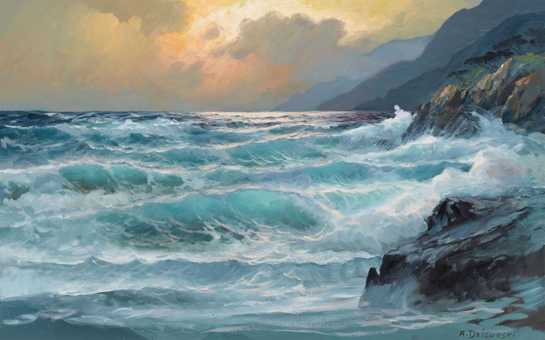 paintings ocean clouds landscapes nature rocks artwork wallpaper