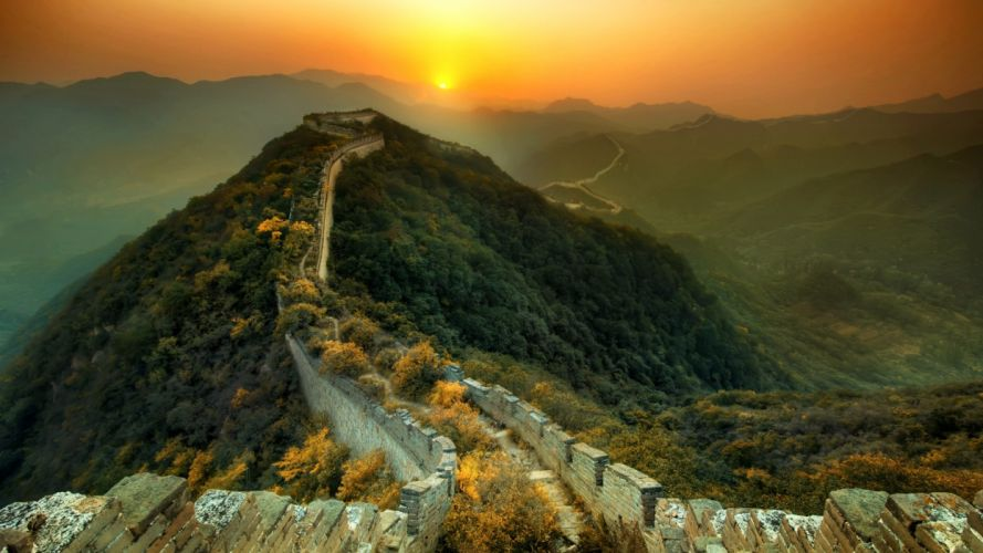 mountains landscapes trees forests China Great Wall of China wallpaper