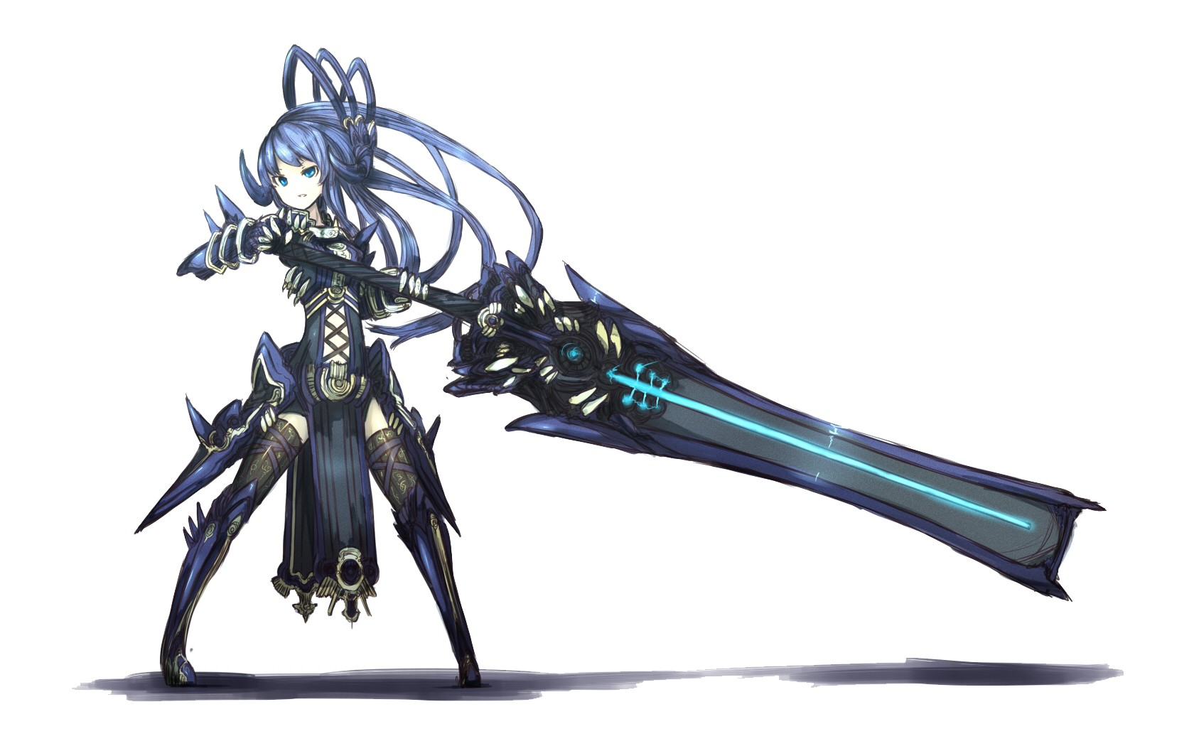 Weapons blue hair pixiv simple background anime girls - Anime girl with weapon ...