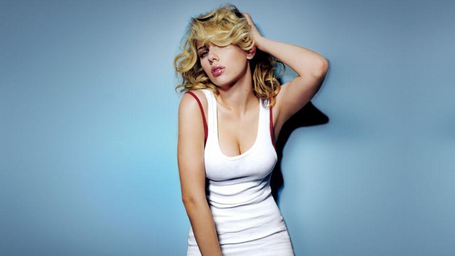 women Scarlett Johansson simple background wallpaper