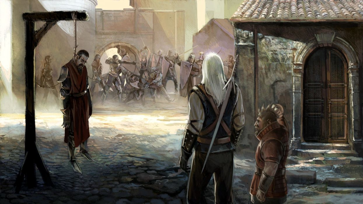 video games RPG The Witcher fantasy art artbook artwork Geralt of Rivia The Witcher 2: Assassins of Kings swords fan art anjey sapkovsky pc games Game Art cd project red wallpaper