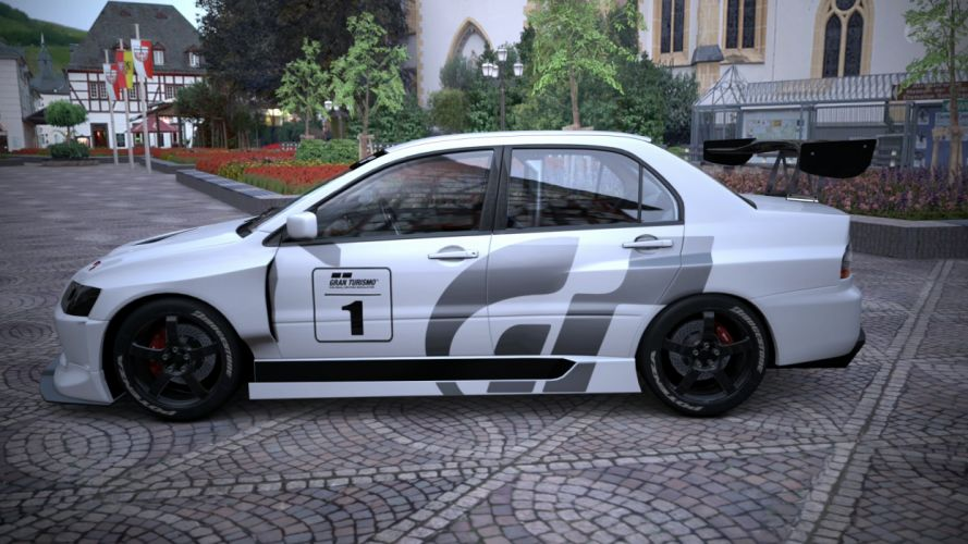 trees cars vehicles Mitsubishi Lancer Evolution Gran Turismo 5 wallpaper