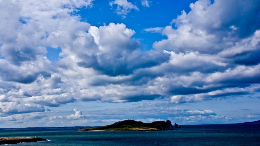 water clouds landscapes nature islands blue skies wallpaper