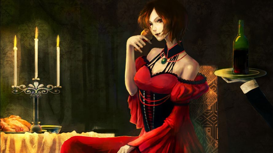 brunettes dark Vocaloid dress indoors food room wine red eyes short hair red dress sitting choker candles Meiko wine glass bare shoulders wallpaper