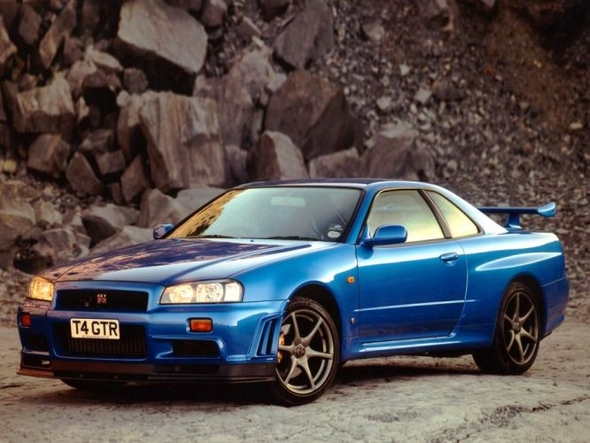 cars vehicles blue cars Nissan Skyline GT-R Nissan Skyline R34 wallpaper